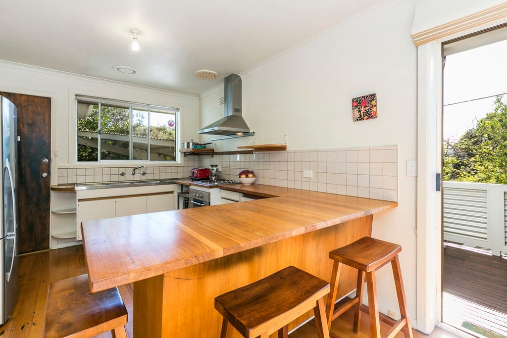 The kitchen with large fridge