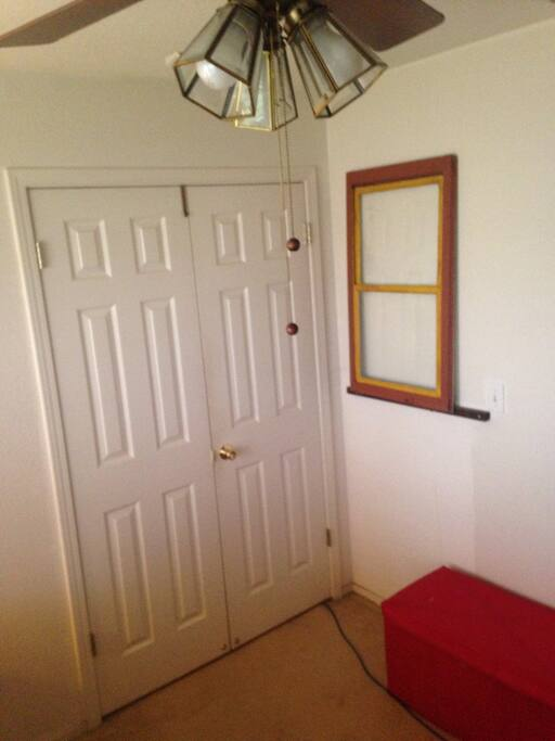 Double doors to the room with privacy lock.