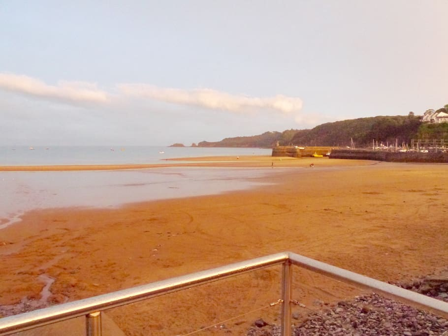 View of the beach from the shared decking