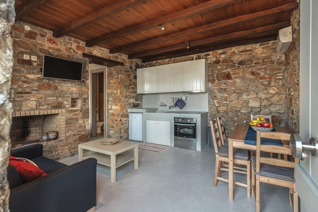 Kitchen and seating area