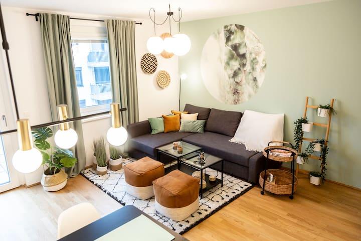 15 Min ins Zentrum: grünes gemütliches Appartement
