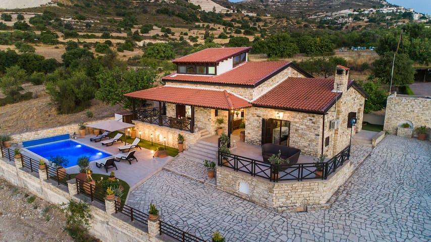 Lefkara Villa #4 BR#Swimming pool#fire place#BBQ