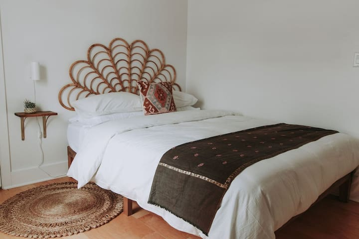 Comfortable memory foam mattresses and soft, white linens in every room