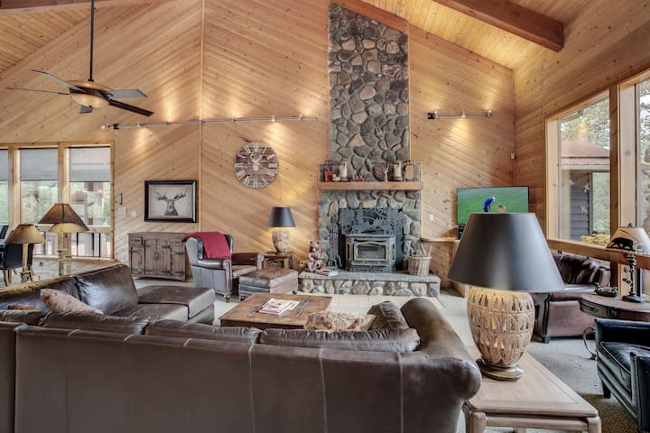 Great Room with Knotty Pine Post and Beam ceiling