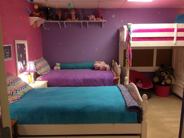 Cool, comfortable, colorful basement bedroom