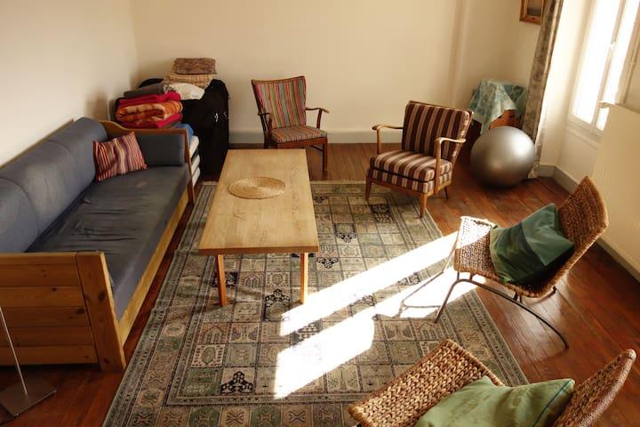 Grand salon avec canapé lit 2 personnes et un lit une place qui peut y être installé