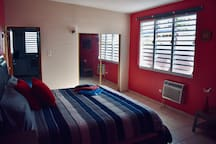 Third master bedroom with AC, king size bed and futon bed.
