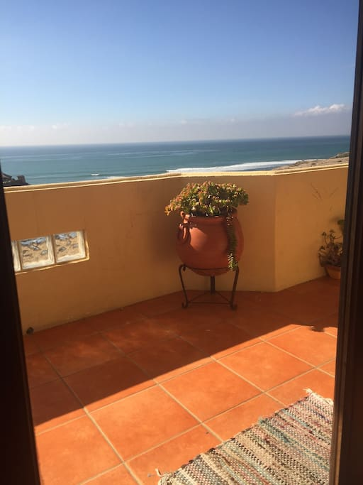 Ocean view from our patio - love the contrast of vibrant colors