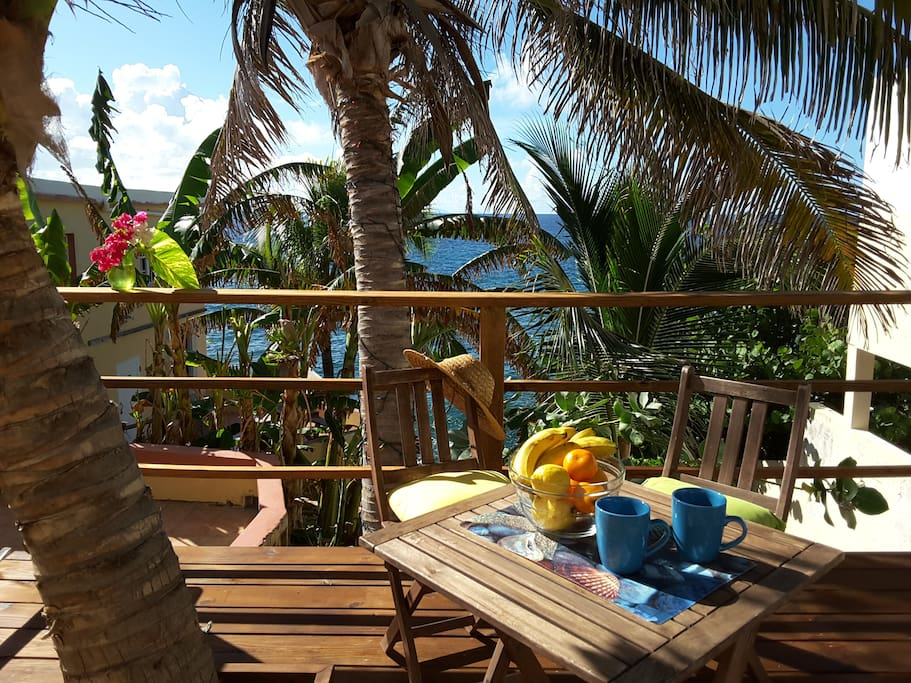Enjoy the smell of the morning coffee and the ocean breeze.
