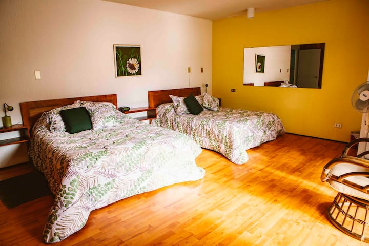 Bedroom # 1: It has two double beds, large balcony, walk in closet, TV, small fireplace, and a full bathroom. / Dormitorio # 1: Cuenta con dos camas matrimoniales, balcón grande, walk in closet, televisor, chimenea pequeña, baño completo.