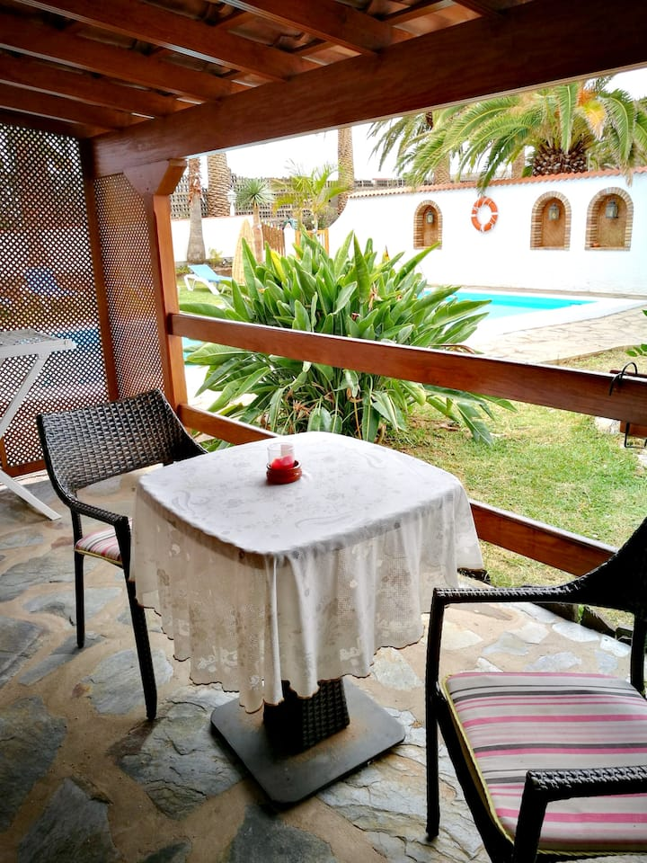 House with one bedroom in Buenavista del Norte, with wonderful mountain view, shared pool, furnished terrace - 1 km from the beach