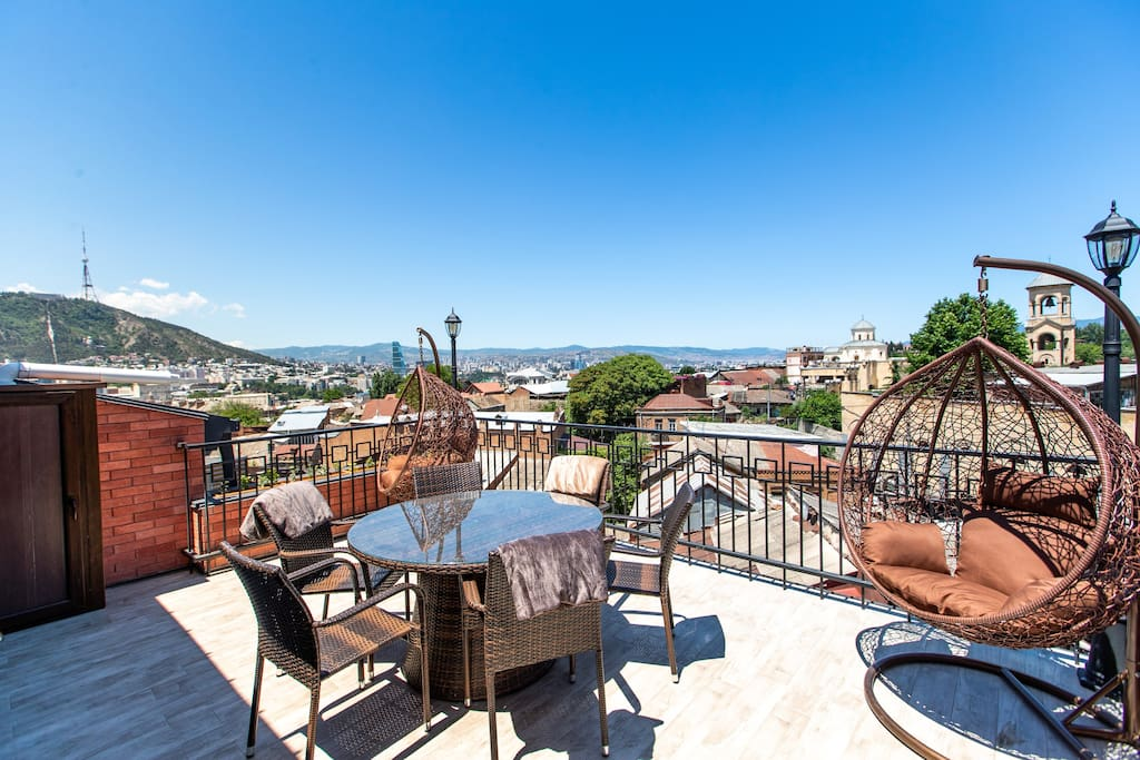 Huge terrace with stunning view on Old Tbilisi