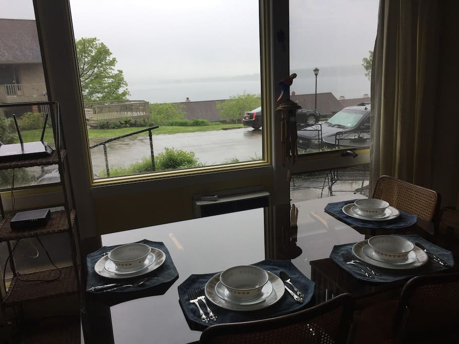 Even rainy days at the lake are fun dining with a nice lake view.