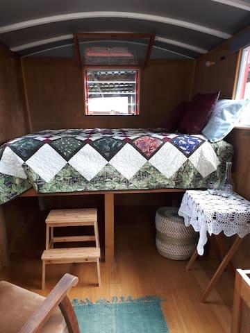 Super comfy double bed gypsy caravan