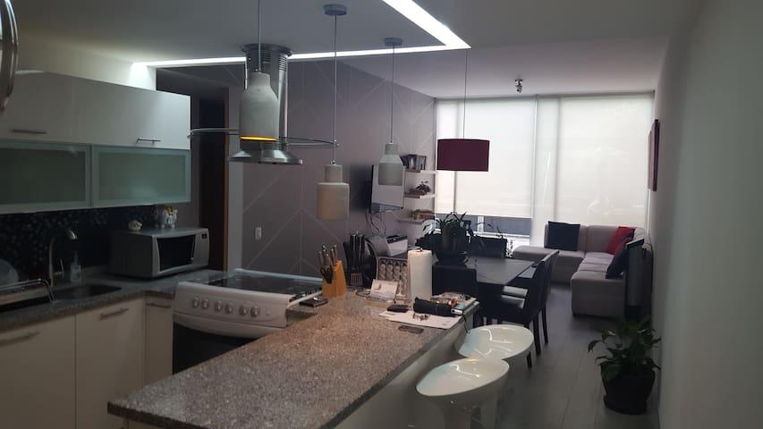 Vista general del departamento. Cocina, comedor, sala y terraza privada.