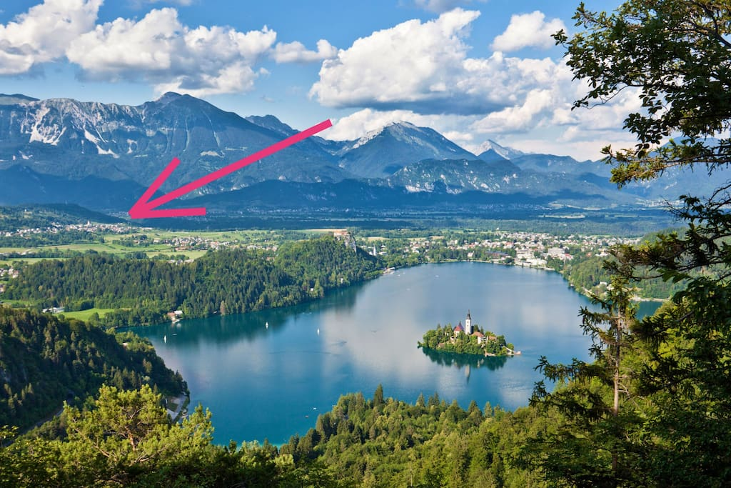 Lake Bled and the location of our apartment.