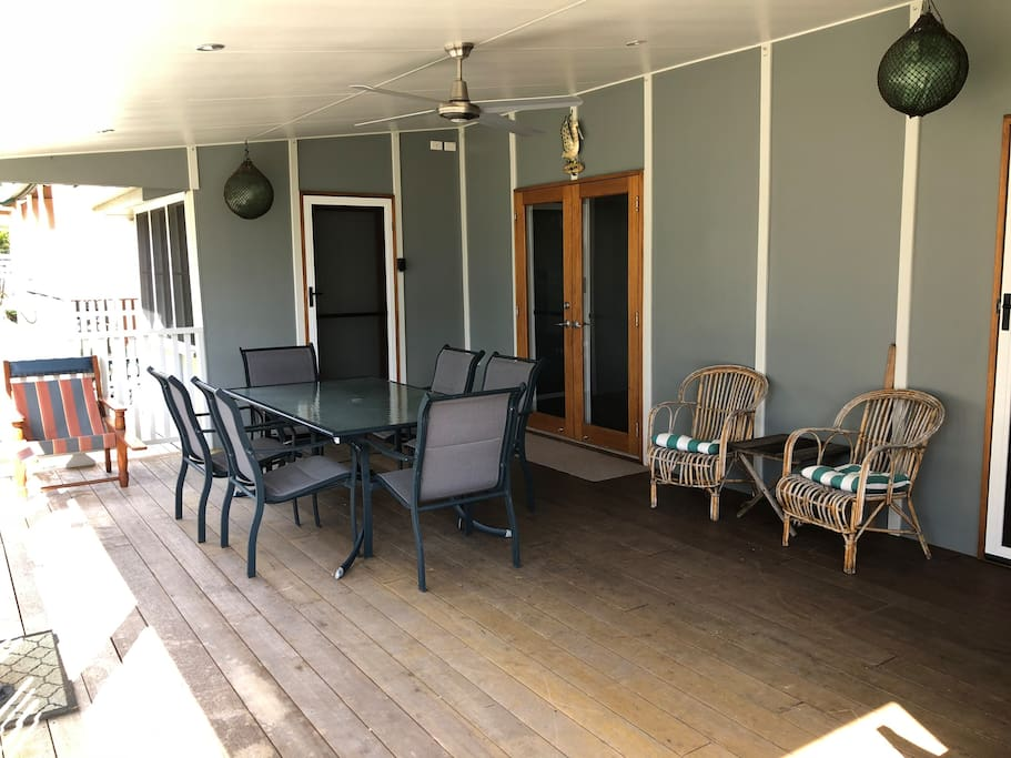 Enjoy the large front deck for dining and relaxing