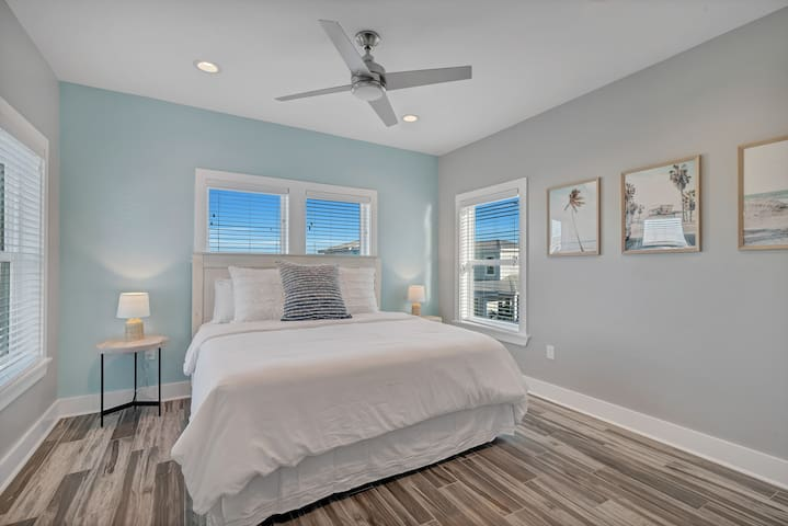 Upstairs master bedroom with a super comfortable King Size bed fit literally for a king