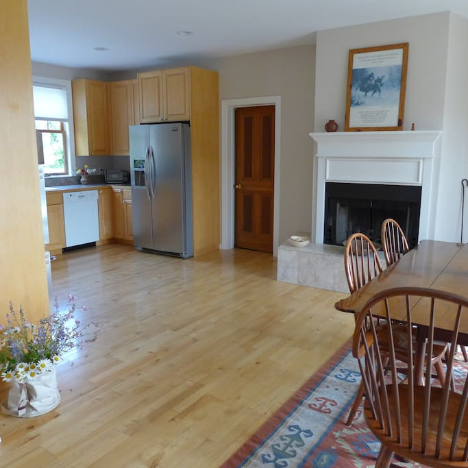 Dining room is just steps from the kitchen