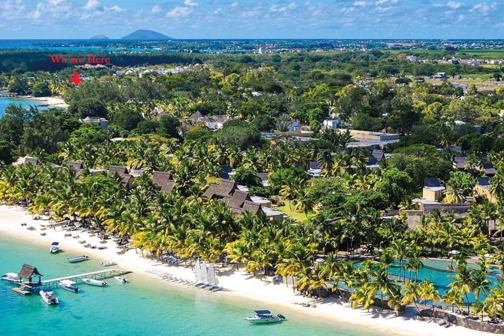 Aerial view on Trou Aux Biches beach and our location
