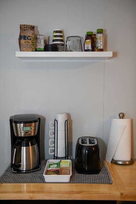 Organic coffee, Teas, reverse osmosis filtered water