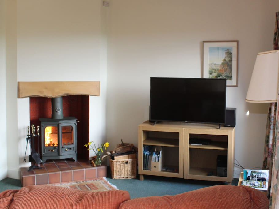 Mungo's Well cottage has central heating and a wood burning stove in the living room. We provide lots of homegrown wood.
