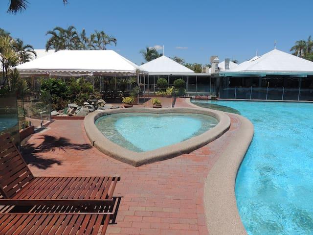 Spa adjacent to lagoon pool