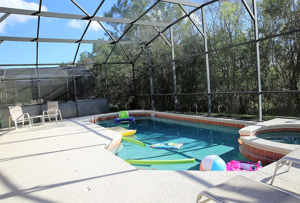 30 foot pool /spa with large sunning deck