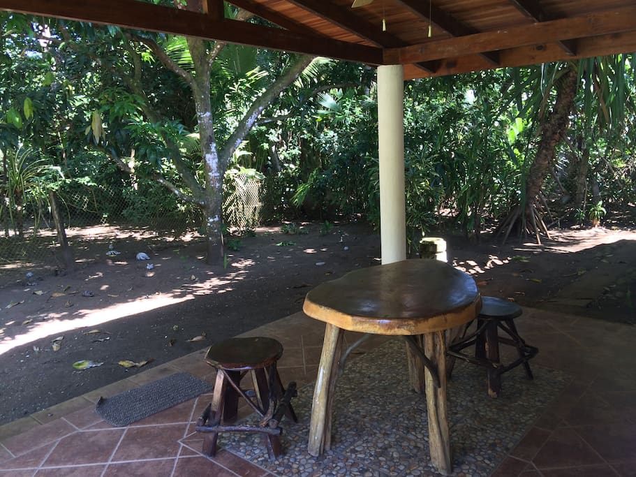Casita porch offers a great vantage to watch for Capuchin monkeys in our sanctuary