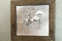 Closeup of one of the fine Pencil Drawings - Cowboy Art.