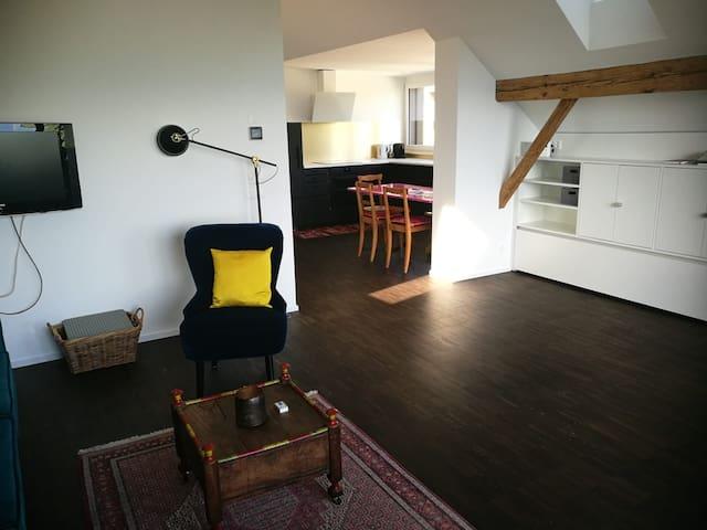 Blick vom grossen Wohnzimmer in die Küche