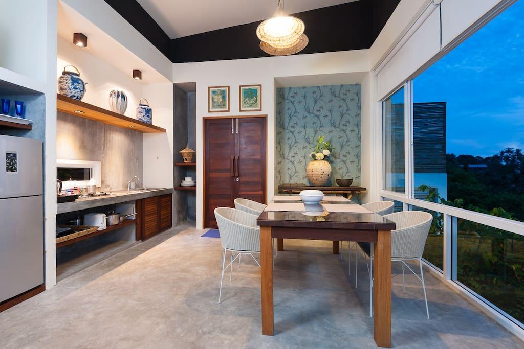 kitchen in the blue villa.