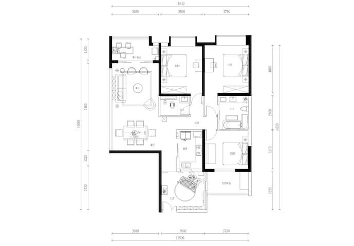 平面布局图,房屋建筑面积为163.8㎡