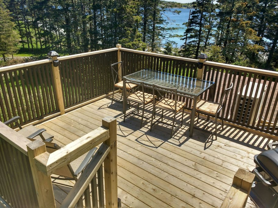 Second story deck overlooking St. Margaret's Bay. Seating for six. Bbq and utensils.