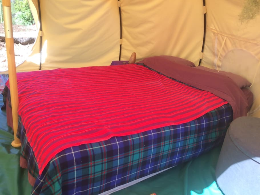 Super cozy queen mattress with wool blankets and clean sheets!