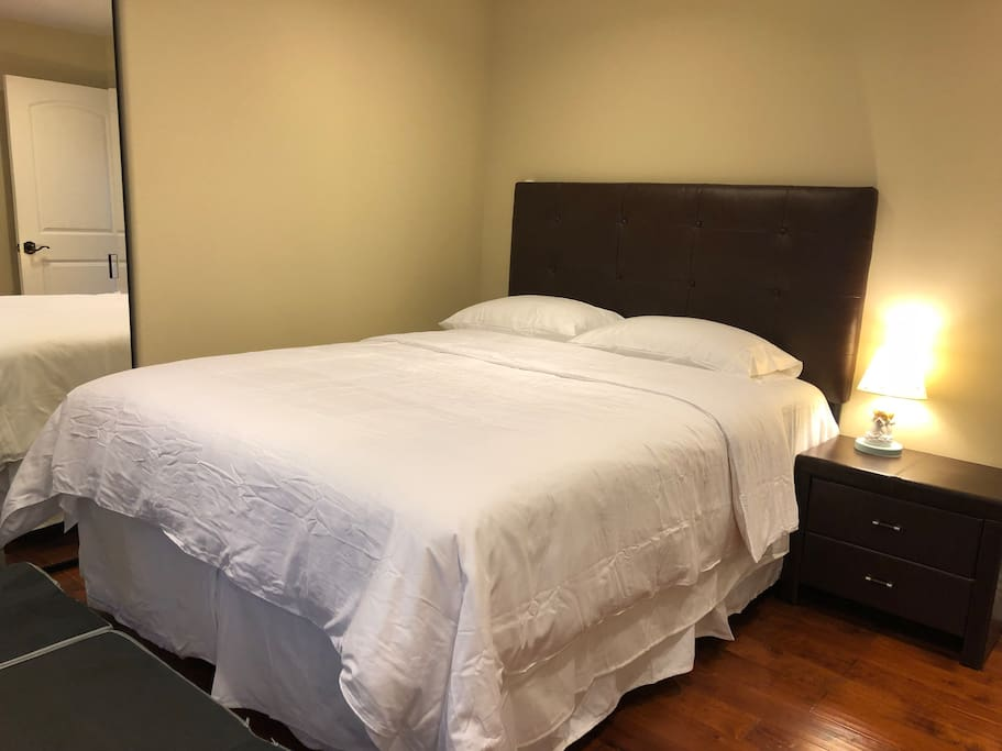 P 可住3人的客房,一張雙人床,一張單人床,帶寫字桌。房門可鎖。 Private Room for 3, with one queen bed, one twin bed, and a desk. Room is lockable.