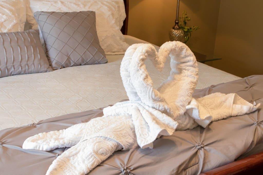 Luxury Linens await your arrival...