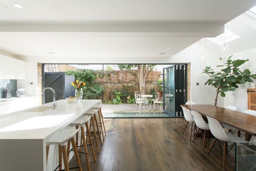 Large kitchen diner with outside space