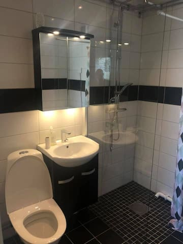 The newly renovated bathroom with a washing machine.