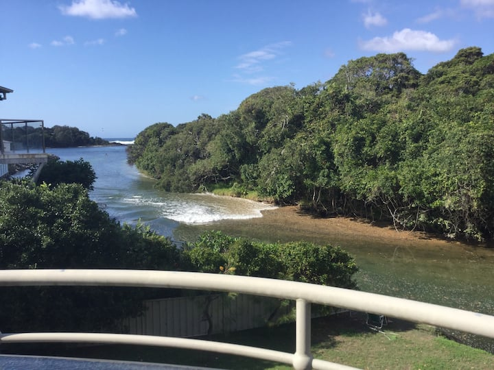 Creek and sea view, Sawtell village