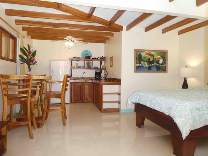 Poolside cozy studio Queen bed AC, kitchen,100mbps