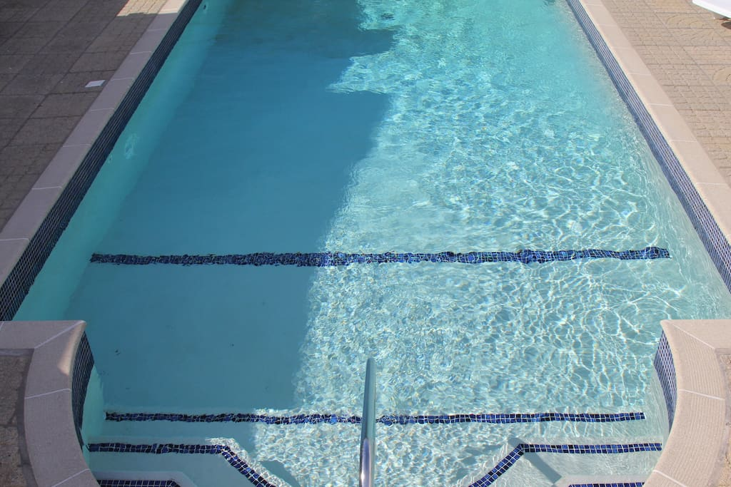 Heated outdoor swimming pool on site