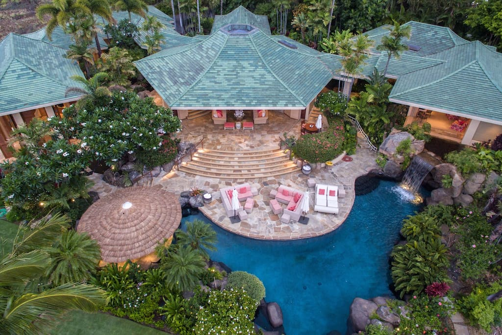 Aerial view of this gorgeous 5 Bedroom pod-style estate home composed of 3 pavillions