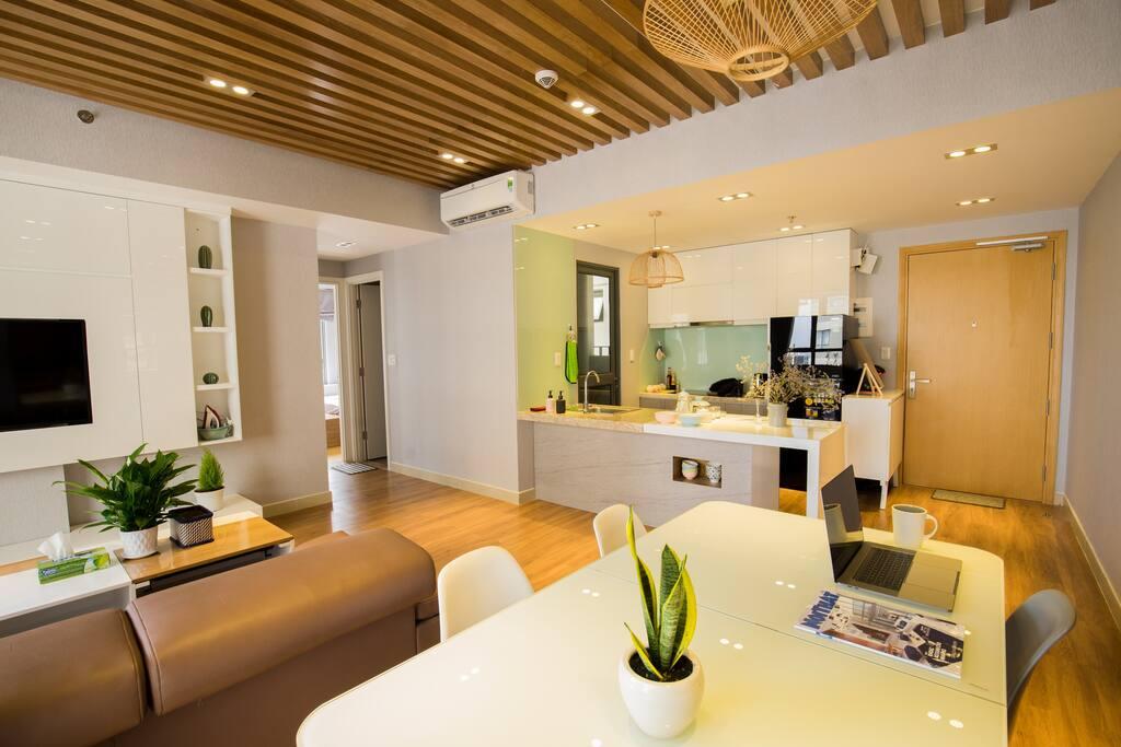 Living room & open kitchen, full firnishes