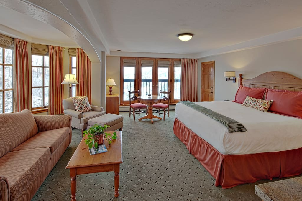 The King Corner Room offers spectacular views of Beaver Creek