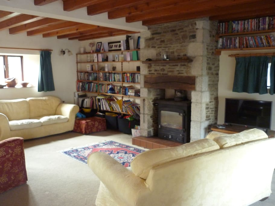 Large living room with wood burner
