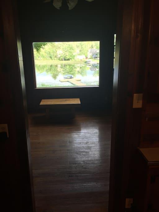 Living room w/ view of lake