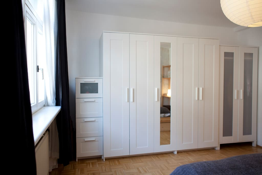 the bedroom - you'll get storing space in the closet