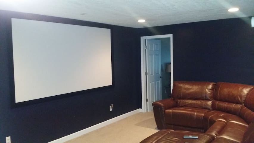 Basement Theater Room.  110 Inch HD Projection Theater with seating for 8