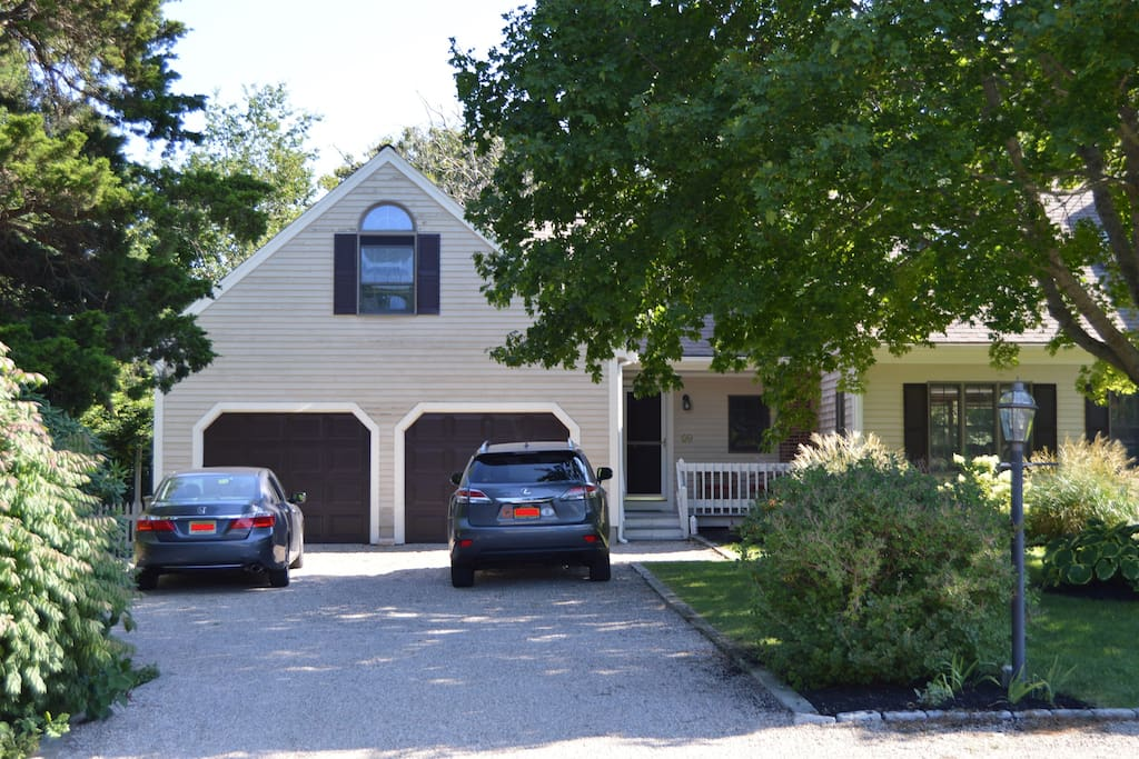 driveway parking, access to two car garage
